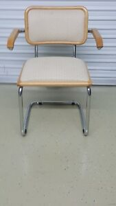 Details About Cesca Italian Armchair Marcel Breuer Upholstered Seat And Back Excellent