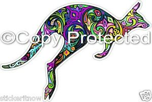 Colourful-Kangaroo-Australian-Bumper-Sticker-100mm-Decal-Car-Caravan-Ute-Ipad