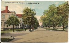Typical Residence Street in Savannah GA Postcard 1913