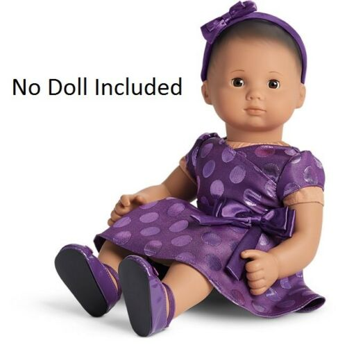 American Girl Doll Bitty Baby or Twins Holiday Polka Dot Dress NEW! Purple