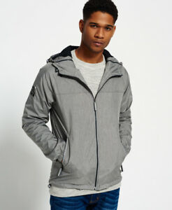 New Mens Superdry Dual Zip Through Cagoule Light Charcoal Marl