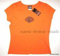 Harley Davidson Orange Shirt Womens Small S Logo Tee Top Biker Indiana