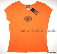 Harley Davidson Orange Shirt Womens Small S Logo Tee Top Biker Indiana