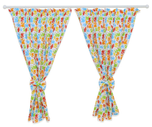 NURSERY CURTAINS BABY CHILD KIDS BEDROOM WINDOW DECORATION BOWS PINCER CLIPS