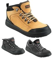 MENS LEATHER LIGHTWEIGHT SAFETY WORK BOOTS STEEL TOE CAP SHOES TRAINER HIKER SZ