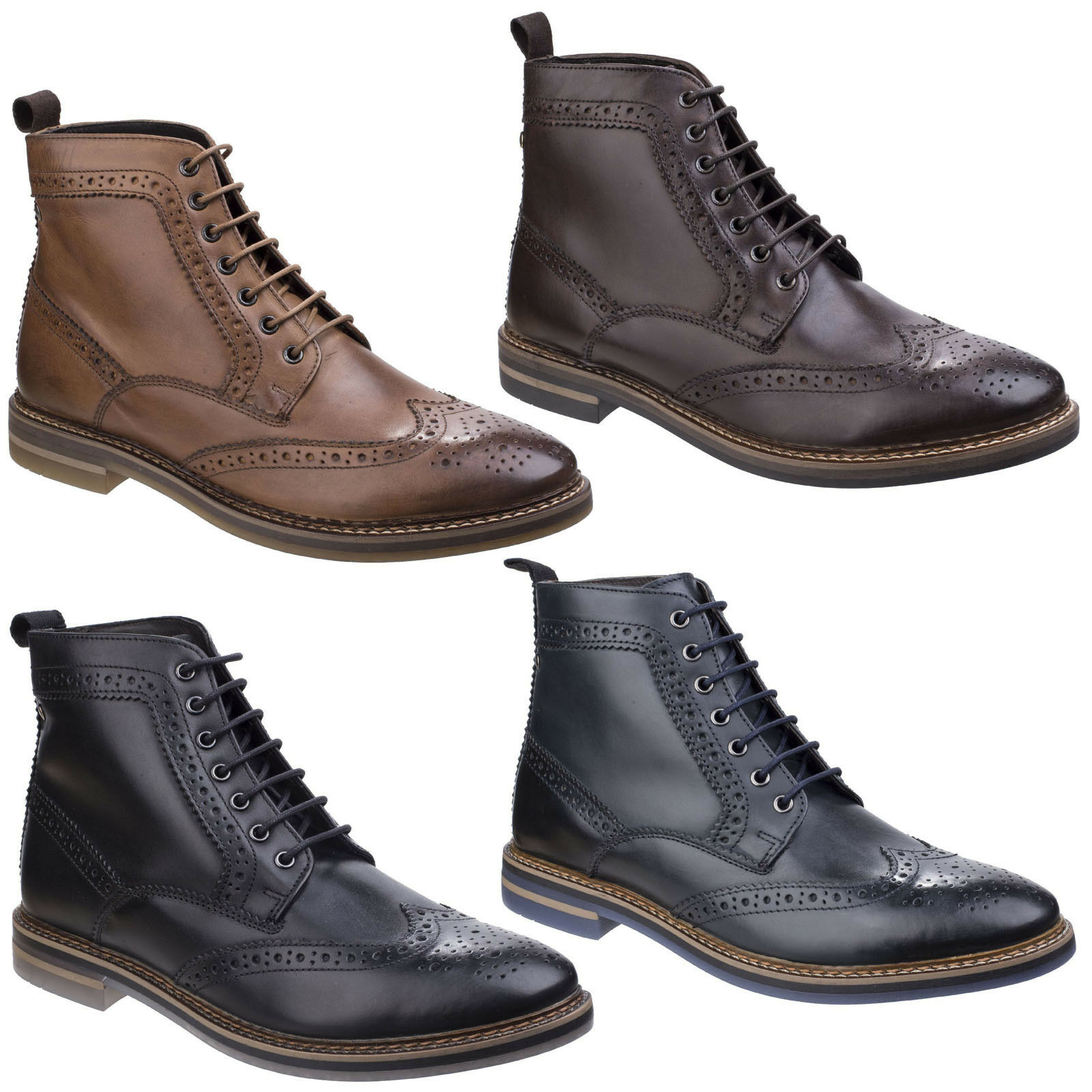 Scarpe casual da uomo  Base London Hurst da uomo in pelle stringati BRUNITA cerosa CALATA Boot