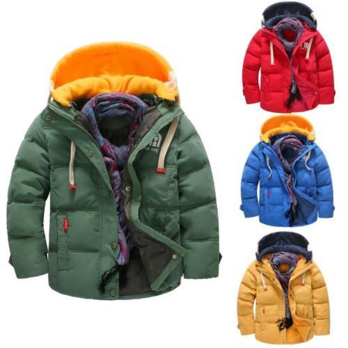 Toddler Baby Kids Boy Winter Warm Coat Cotton  Windproof Detachable Cap Jackets