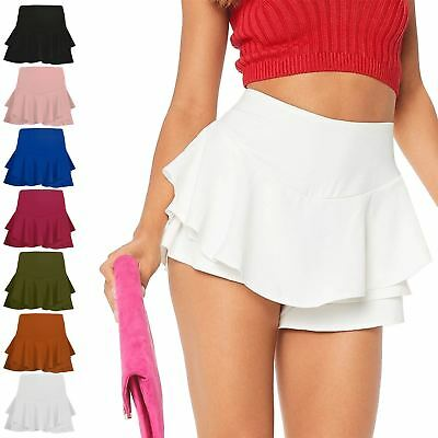 Symbol Der Marke New Womens Celebrity Layered Ruffled Frill Skorts High Waisted Mini Skirt Shorts