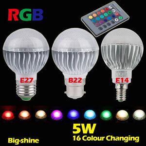 E27-E14-B22-RVB-LED-Ampoule-5W-16-couleur-Change-Lumiere-Lampe-Telecommande