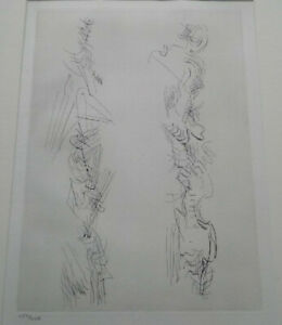 Engraving henri moore pointe seche original 1970 numbered mint condition frame