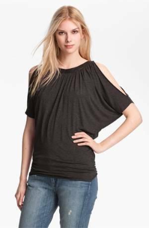 Bailey 44 Picasso faux leather trim grau cold shoulder top shirt Größe S NWOT
