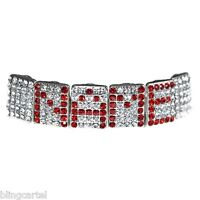 Red Grillz Customized Name 6 Letters Personalized Iced Custom Top Teeth Grills