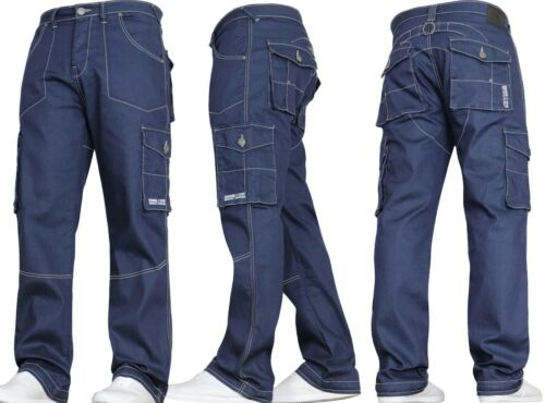 New Mens Denim And Dye Casual Cargo Combat Work Pants Jeans Trousers Waist Sizes
