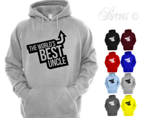 MENS THE WORLD/'S BEST UNCLE ARROW DESIGN HOODIE FATHERS DAY HOODY GIFT
