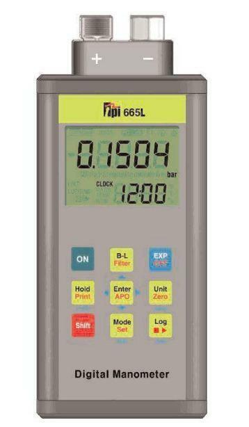 TPI 665 Dual Input Differential Digital Manometer with Data Logging