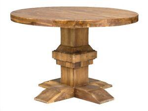 Esstisch 120cm Holz Teak Natur Rund Rustikal Kuchentisch Eszzimmer