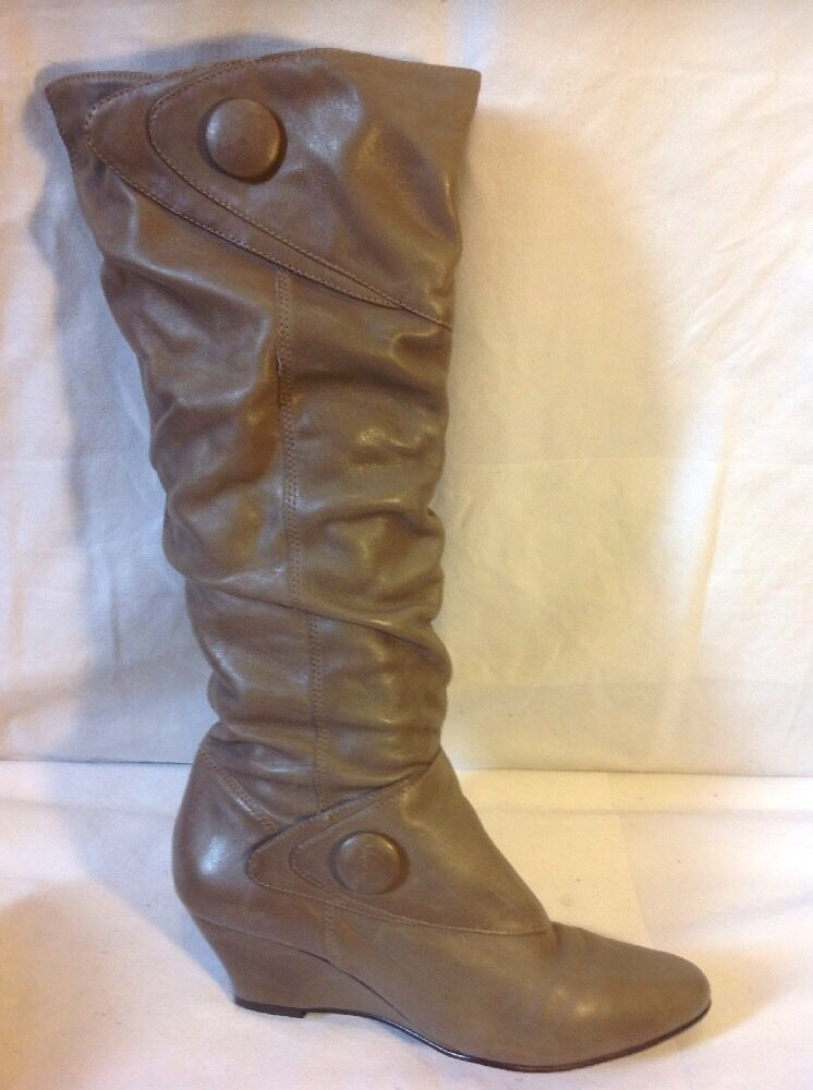 Next Brown Knee High Leather Boots Size 5