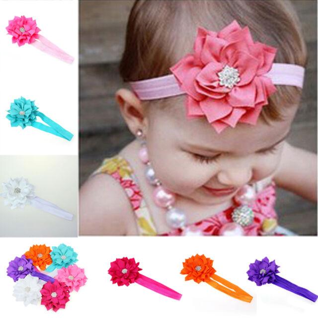 6 Pieces Cute Babys Girls Headband Head Wear Crystal Lotus Flower Hairband Gift