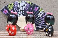 3pcs Mix Color Handmade Oriental Cute Japanese Creative Kokeshi Wooden Doll Girl