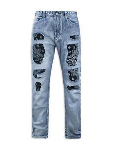 MENS-JEANS-biker-DENIM-Fashion-Designed-slim-Fit-Biker-Distressed-ripped-jeans