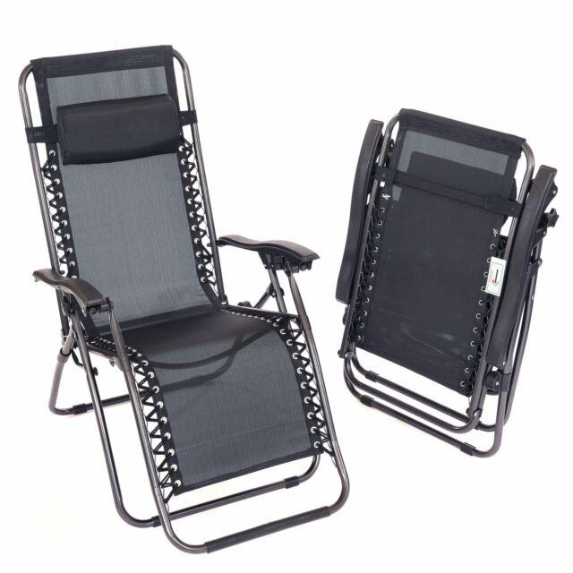Stupendous 2X Oypla Folding Reclining Garden Deck Chair Sun Lounger Zero Gravity Dailytribune Chair Design For Home Dailytribuneorg