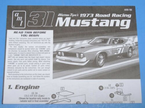 Instruction 1//25 Scale AMT Ford Cobra Racing Team Decals