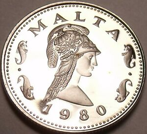 Malta-2-Cents-1980-Proof-Penthesilea-Queen-Of-The-Amazons-RARE-3-451-Minted-F-S
