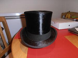 Image is loading Victorian-Wheeler-amp-Company-Black-Silk-Top-Hat- bb12049abcb