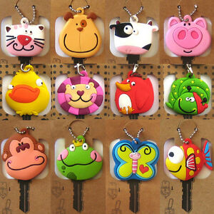 FUNKY-ANIMAL-KEY-HEAD-COVER-New-Keyring-Cap-Chain-Fob-Holder-Home-Accessory