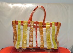 NANCY-GONZALES-Yelow-Orange-Crocodile-Leather-Woven-Tote-Bag