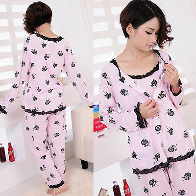Womens Fall Flower Print Pyjamas 3PCS Sets Ladies Winter Pjs Nightwear Sleepwear