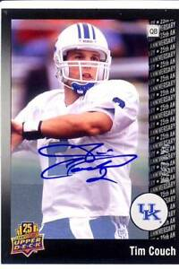 tim couch auto autograph kentucky wildcats uk college ...
