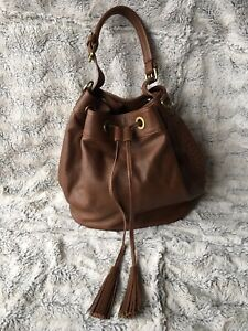 Boden Brown Leather Bucket Tassel