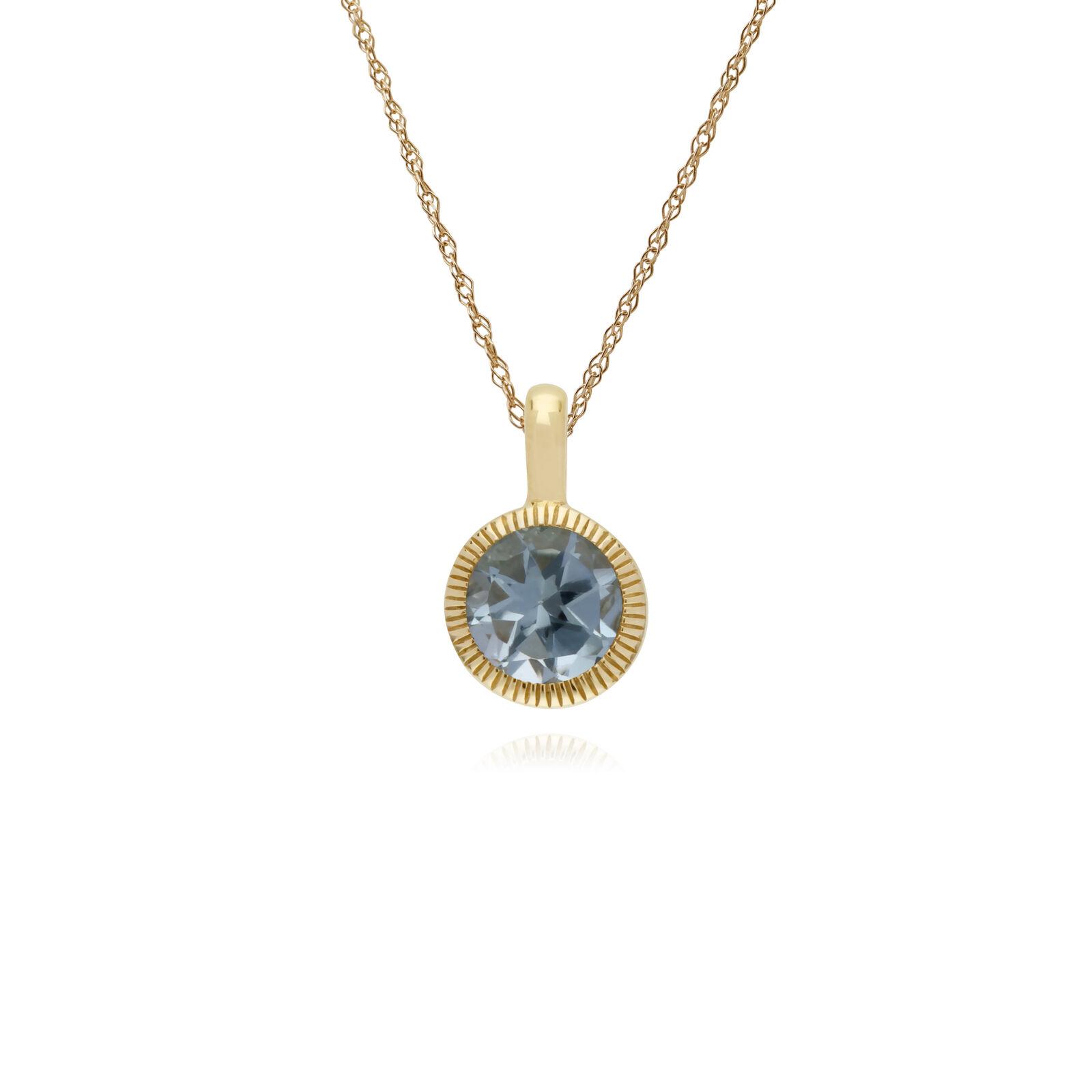 Gemondo 9ct yellowgold blue Topaz Stein Rund Milgrain 45cm Halskette