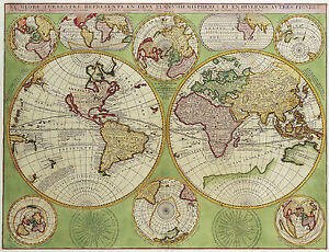 A3 poster vintage style double hemisphere world map picture print image is loading a3 poster vintage style double hemisphere world map gumiabroncs Gallery