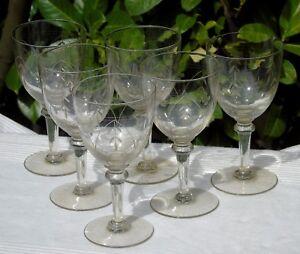 Lorraine-Lemberg-Nancy-Service-de-6-verres-a-eau-en-cristal-taille-Debut-Xxe