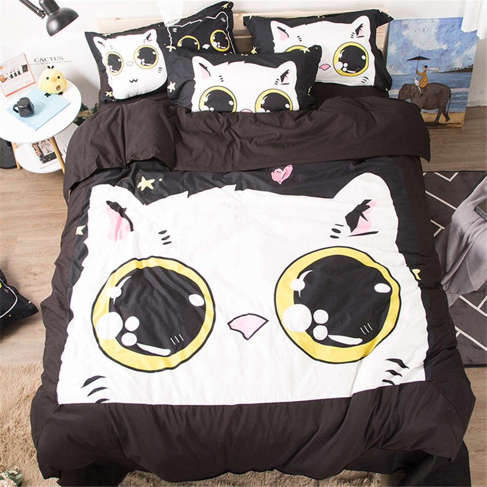 Cute Attractive Big Cat 3D Digital Drucken Bettding Duvet Quilt Startseite Pillowcase