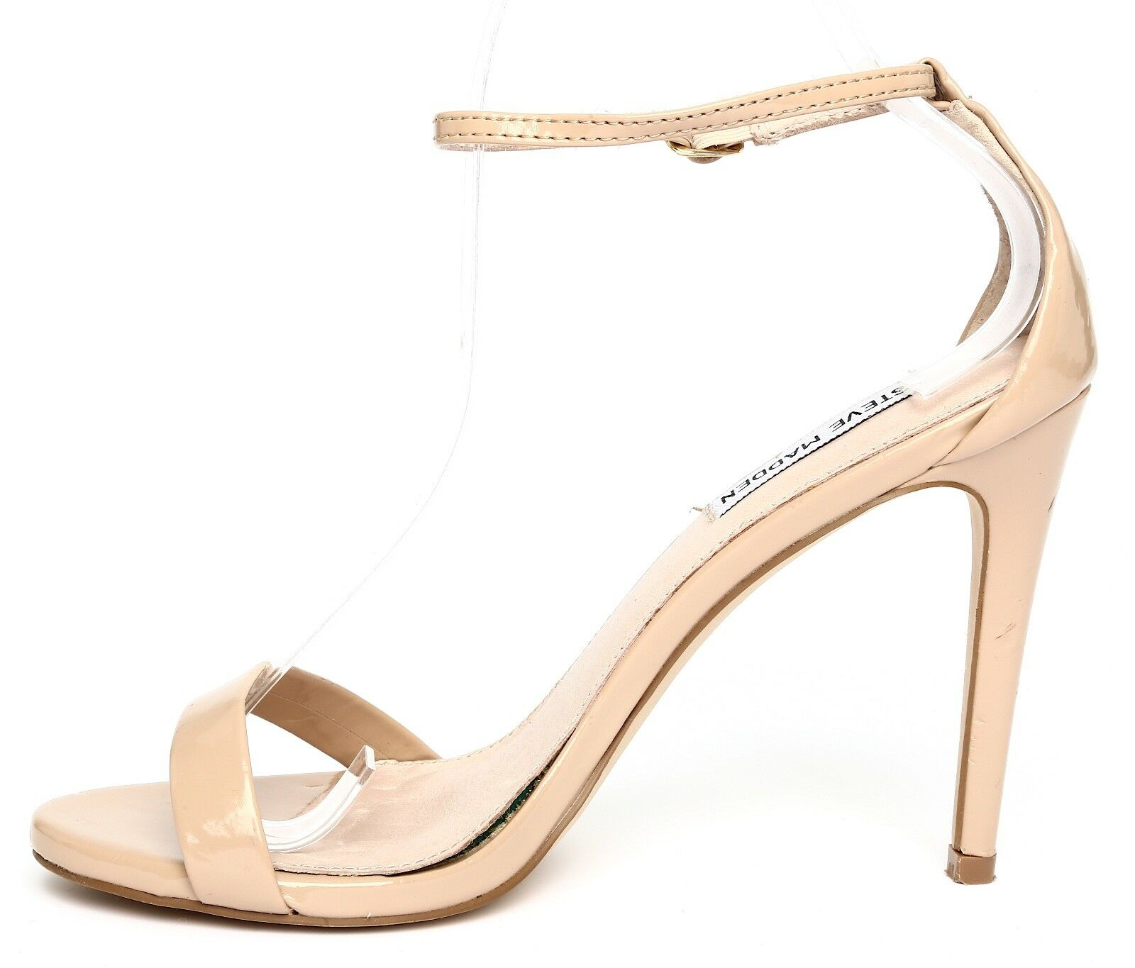 cf193394988 Steve Madden Stecy Patent Leather Nude Ankle Strap Sandal Heels Sz 7.5M 4508