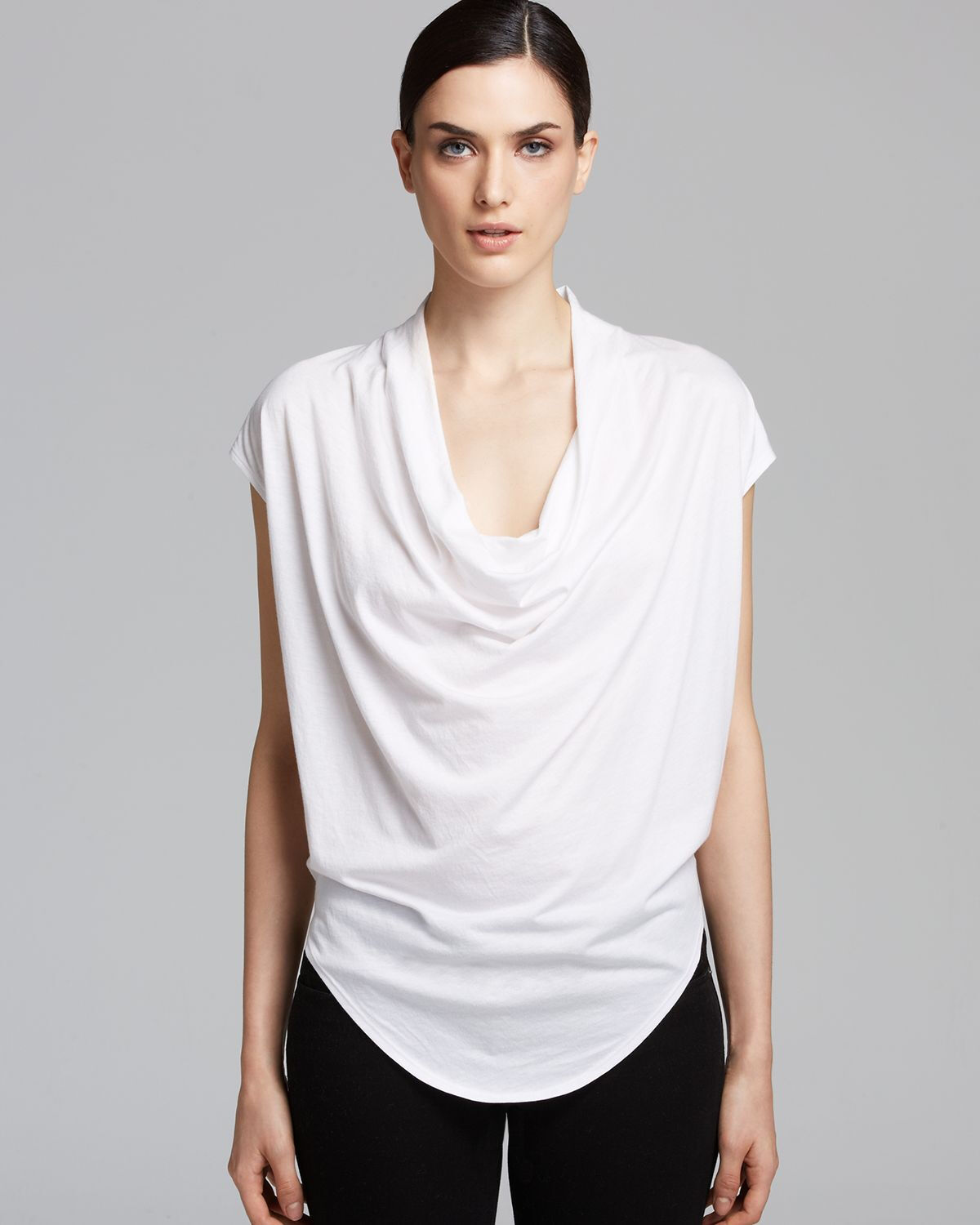 HELMUT LANG Feather Jersey Draped Neck Top T-Shirt in Optic Weiß Größe Large L