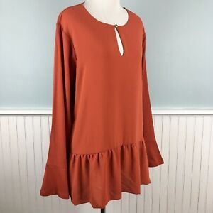 SIZE-1X-Michael-Kors-Burnt-Orange-Ruffle-Shirt-Top-Blouse-Women-s-Plus-NWT-New