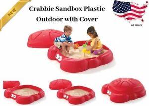 Step2 Crabbie Sandbox Kids Plastic Outdoor Sandbox Cover Playground  Red