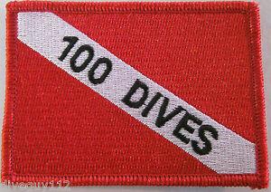 "Scuba Tauchen Patch Tauch Flagge Aufkleber Zoll 100 Dives "" BG0076"