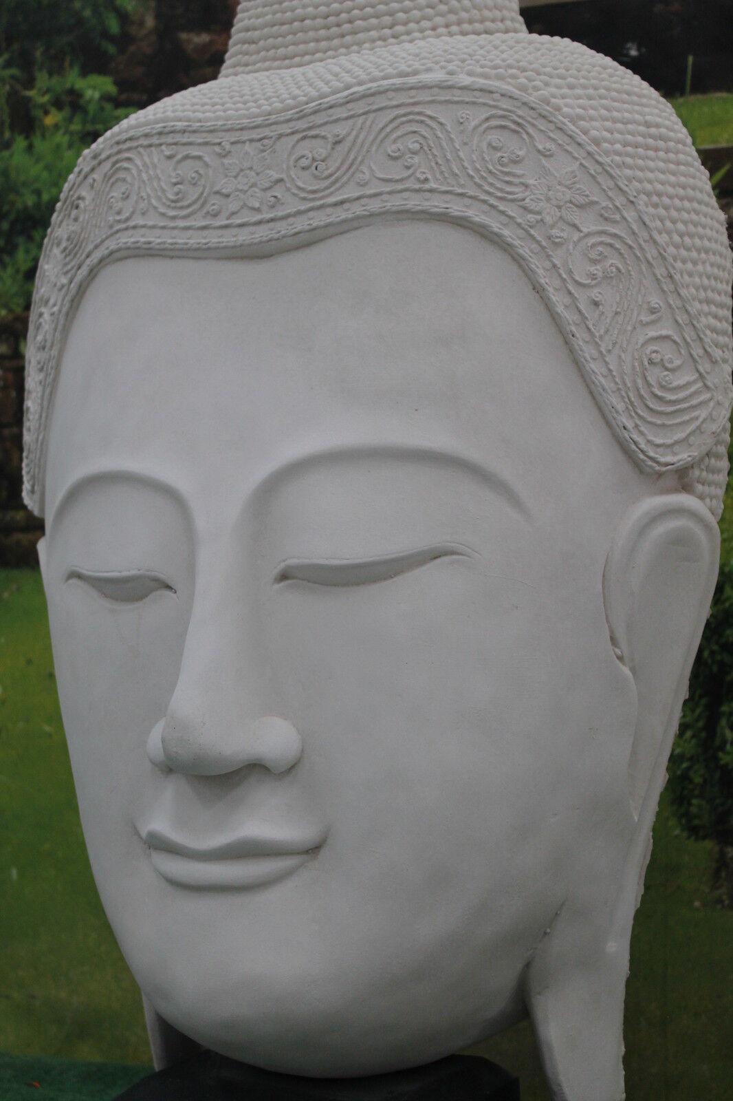 WHITE LIMESTONE 115 CMS TALL  BUDDHA STATUE  HEAD GARDEN ORNAMENT STATUE