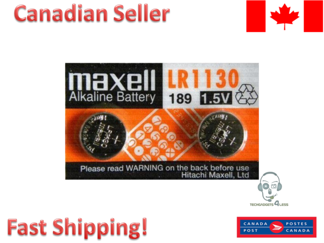 Maxell Batteries LR1130 (189, LR54, AG10) Alkaline Button Size Battery, 2 Pack