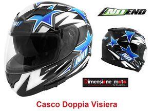 Casco-Integrale-Doppia-Visiera-NO-END-Colore-Star-by-OCD-Blue-Taglia-S-56-cm