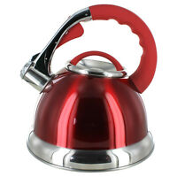 Whistling Red Stainless Steel Kettle - 2.8 Liters