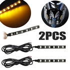 2x Mini Strip Black led motorcycle Turn signal Universal Amber lights Strip 6LED