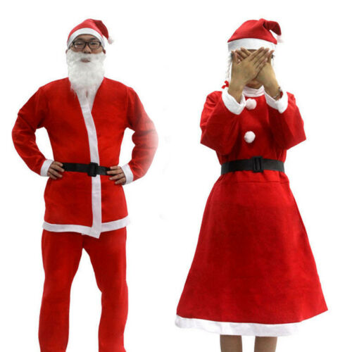 1Set Adult Unisex Christmas Santa Claus Clothing Costume Suit Outfit Xmas Party