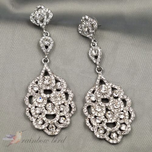 Clear Crystal Rhinestone Wedding Bridal Chandelier Drop Dangle Earrings Silver 7