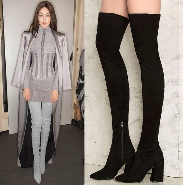 Hot Women Suede Thigh Slim Over Knee High Boots Chunky Pointy Toe High ShoesB687